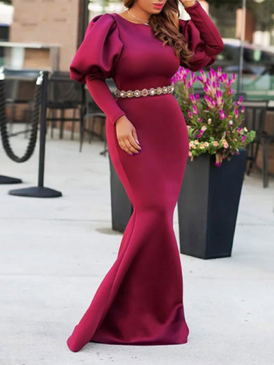 Floor-Length Long Sleeve Backless Fall Pullover Dress