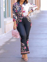Print Floral Shirt Bellbottoms Two Piece Sets