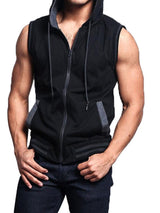 Hooded Loose Color Block Casual Fall Vest
