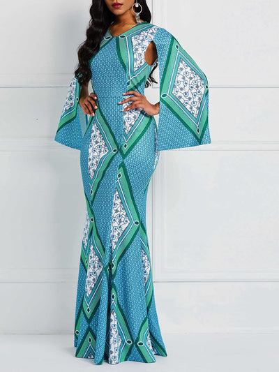 Long Sleeve Print Floor-Length Mermaid Geometric Dress