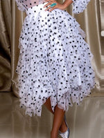 Polka Dots Asymmetrical Pleated Fashion Skirt