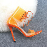 Stiletto Heel Heel Covering Lace-Up Open Toe Plain Casual Sandals