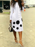 Long Sleeve Asymmetric Mid-Calf Western Polka Dots Dress