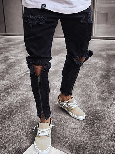 Plain Hole Pencil Pants Zipper Mid Waist Jeans