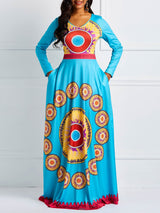 Print Long Sleeve Floor-Length Casual Regular Dress