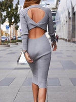 Backless Round Neck Mid-Calf Regular Standard-Waist Dress