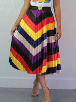 Pleated Mid-Calf Color Block Western Skirt
