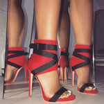 Open Toe Heel Covering Stiletto Heel Buckle High-Cut Upper Zipper Sandals