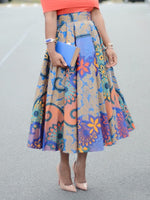 Print Mid-Calf Floral High Waist Skirt