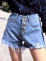 Plain Straight Button Straight High Waist Shorts