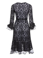 Lace Knee-Length Long Sleeve High Waist A-Line Dress