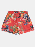 Floral Straight Pleated Loose High Waist Shorts