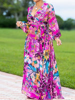 Long Sleeve Print Floor-Length A-Line Lantern Sleeve Dress