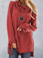 Heap Collar Long Sleeve Mid-Length Western Fall T-Shirt