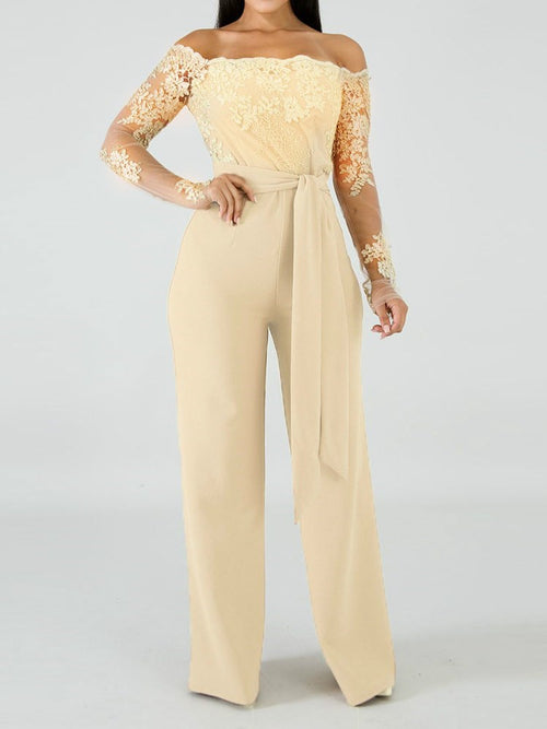 Full Length Lace-Up Casual Slim Wide Legs Jumpsuit