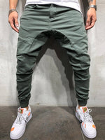 Plain Pocket Spring Zipper Casual Pants