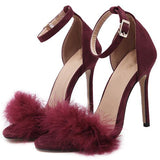 Open Toe Stiletto Heel Heel Covering Line-Style Buckle Low-Cut Upper Western Sandals