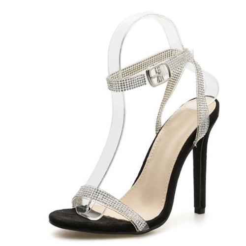 Open Toe Ankle Strap Line-Style Buckle Stiletto Heel Casual Plain Sandals