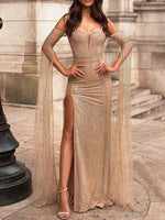 Split Floor-Length Off Shoulder Bodycon Summer Dress