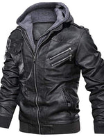 Standard Hooded Casual Slim Leather Jacket