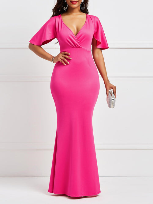 V-Neck Half Sleeve Zipper Bodycon Western Dress