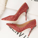 Pointed Toe Slip-On Stiletto Heel Sequin Plain Ultra-High Heel Thin Shoes