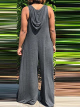 Full Length Plain Casual Loose Wide Legs Jumpsuit