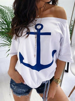 Standard Off Shoulder Half Sleeve Loose Casual T-Shirt