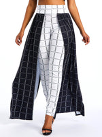 Color Block Patchwork Loose High Waist Full Length Casual Pants