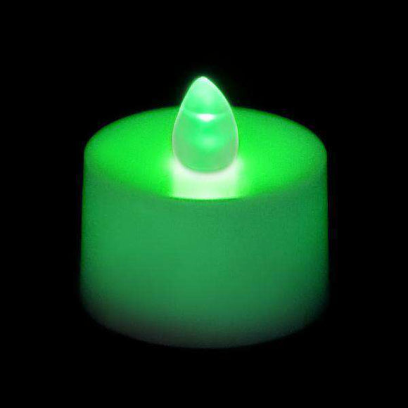 Green LED Tea Light, Available in Flicker/ Non-Flicker - Pack of 12 - IntelliWick