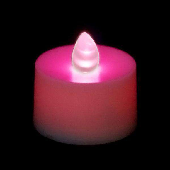 Pink LED Tea Light, Available in Flicker/ Non-Flicker - Pack of 12 - IntelliWick