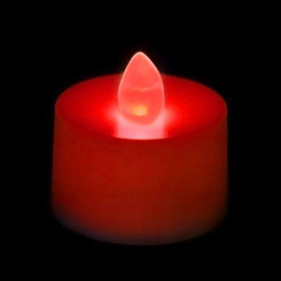 Red LED Tea Light, Available in Flicker/ Non-Flicker - Pack of 12 - IntelliWick