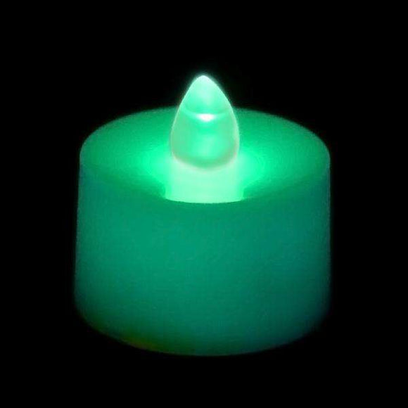 Teal LED Tea Light, Available in Flicker/ Non-Flicker - Pack of 12 - IntelliWick
