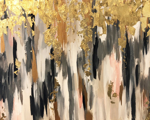 Gold Leaf Abstract Painting, black, gray, cream and blush - Angel Turner Dyke Art