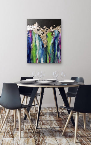 MULTI COLORED SILVER LEAF PAINTING ON CANVAS - Angel Turner Dyke Art