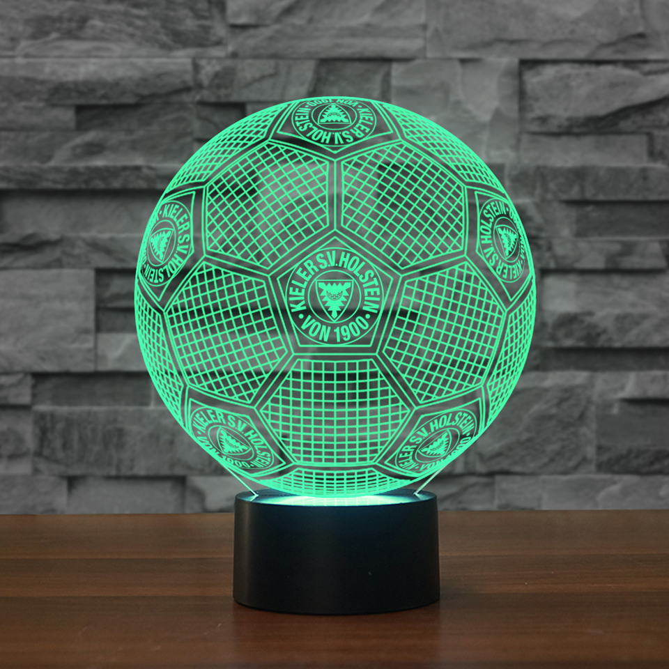 GE2-02-3D Illusion Lamp 7 Color Changeable DE Football Lamp Holstein Kiel Soccer Night Lights