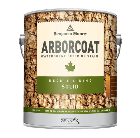 Gallon of Benjamin Moore Arborcoat Exterior Stain, available at John Boyle Decorating Centers in CT.