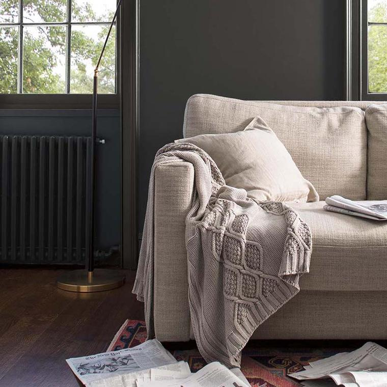 Benjamin Moore HC-166 Kendall Charcoal, from Color Trends 2019 in a living room. Shop this look in central Connecticut with John Boyle Decorating Centers.