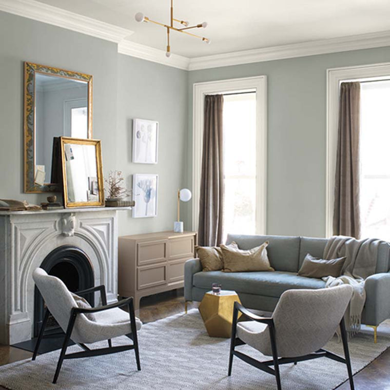 Benjamin Moore Color of the Year 2019: AF-690 Metropolitan in a living room. Shop this look with John Boyle Decorating Centers.