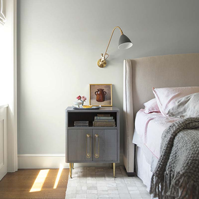 Benjamin Moore Color of the Year 2019: AF-690 Metropolitan in a bedroom. Shop this look with John Boyle Decorating Centers.
