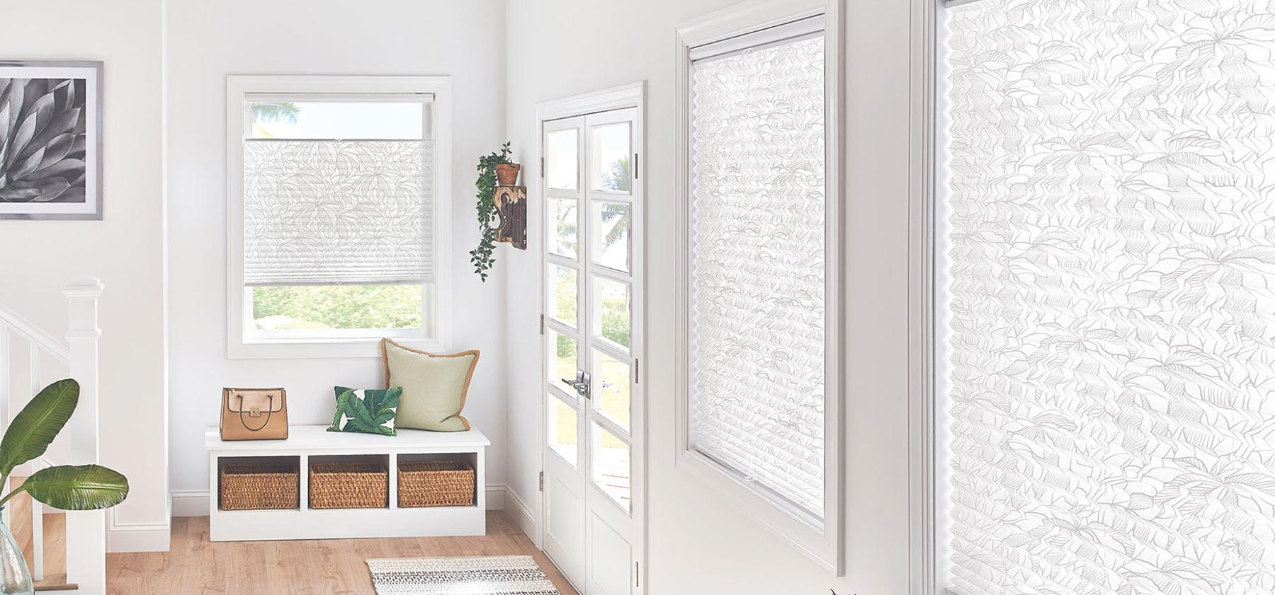 Graber Pleated Shades with Cordless Lift in Imperial, Tropical White 4163, available at John Boyle Decorating Centers in Connecticut.