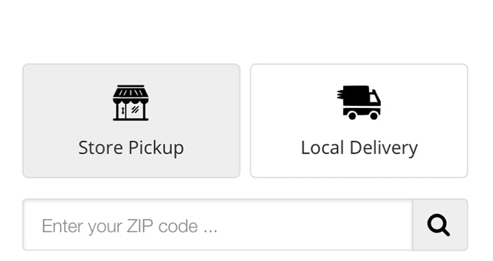 A screenshot of John Boyle Decorating's mobile website, showing the store pick-up or delivery option on the checkout page.