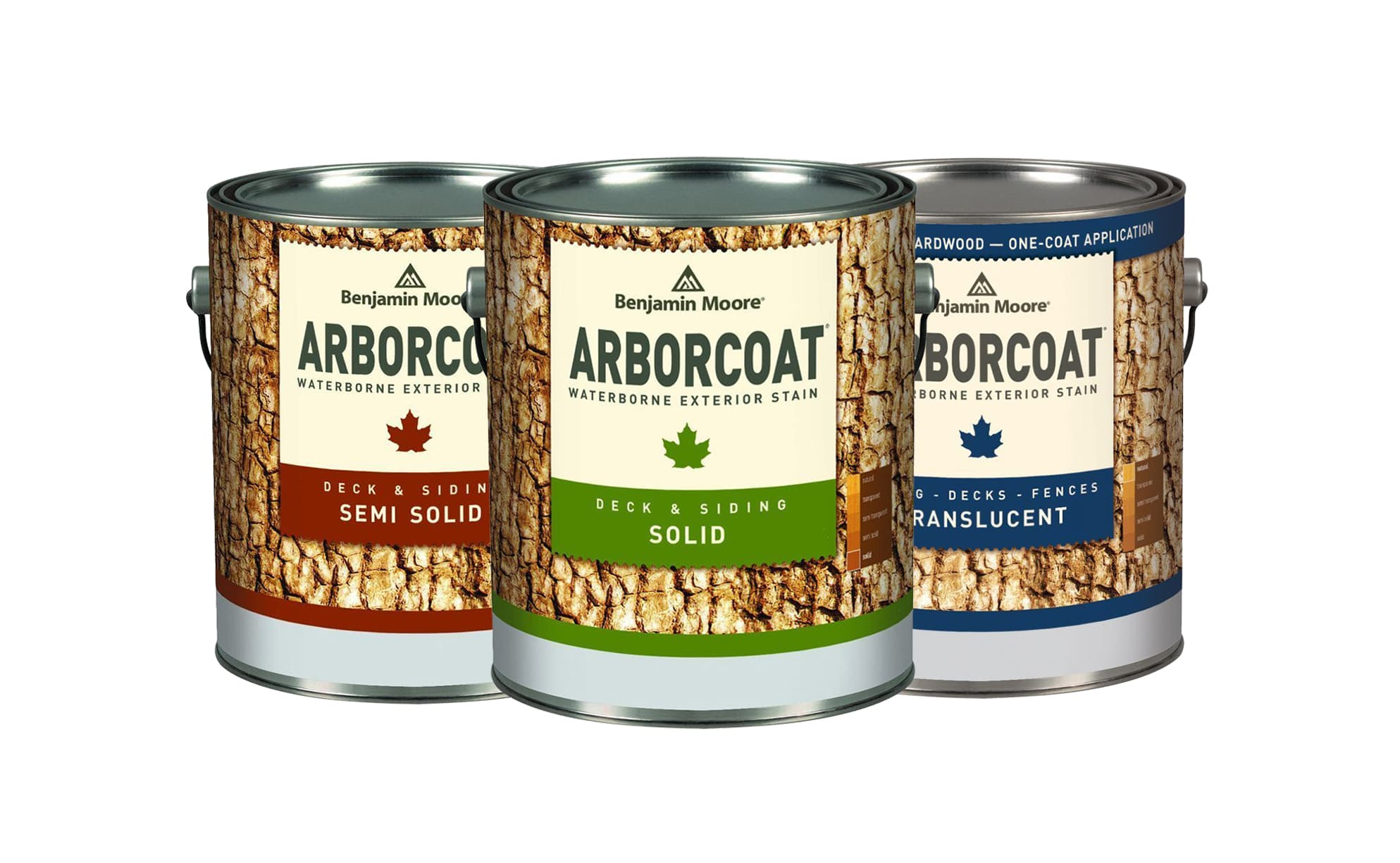 Benjamin Moore Arborcoat Exterior Stain gallons, available at John Boyle Decorating Centers in Connecticut.