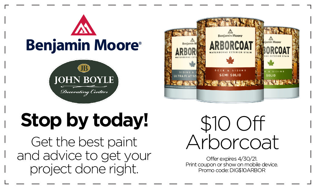 Shop John Boyle Decorating Centers in Conencticut for your exterior stain and get $10.00 now through April 30th.
