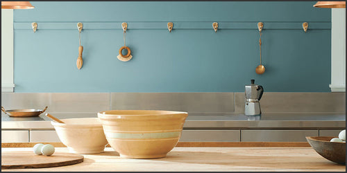 Benjamin Moore Color of The Year 2021: Aegean Teal (2136-40) with a kitchen scene