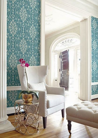 Living Room featuring wallpaper selected from Seabrook