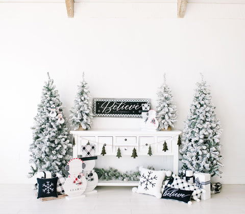 Black and white christmas decorating