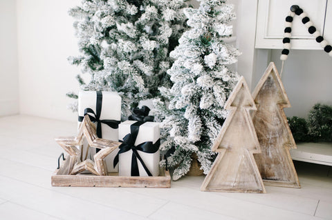 Wooden christmas tree cutout decorations