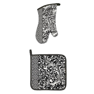 Black Scroll Oven Mitt Set