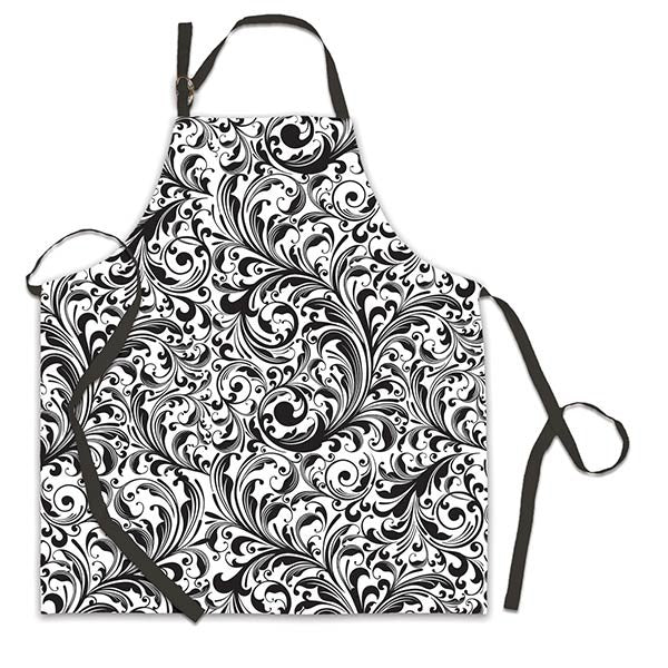 Black Scroll Apron